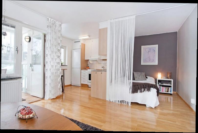 Интерьер спальни совмещенной с кухней фото 18 кв.м