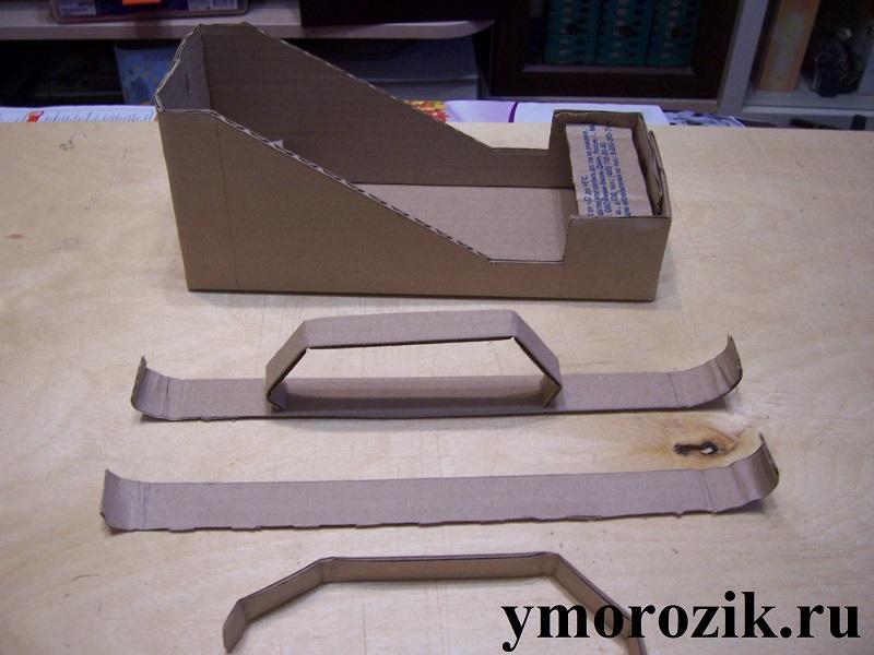 Как сделать из обувной коробки санки